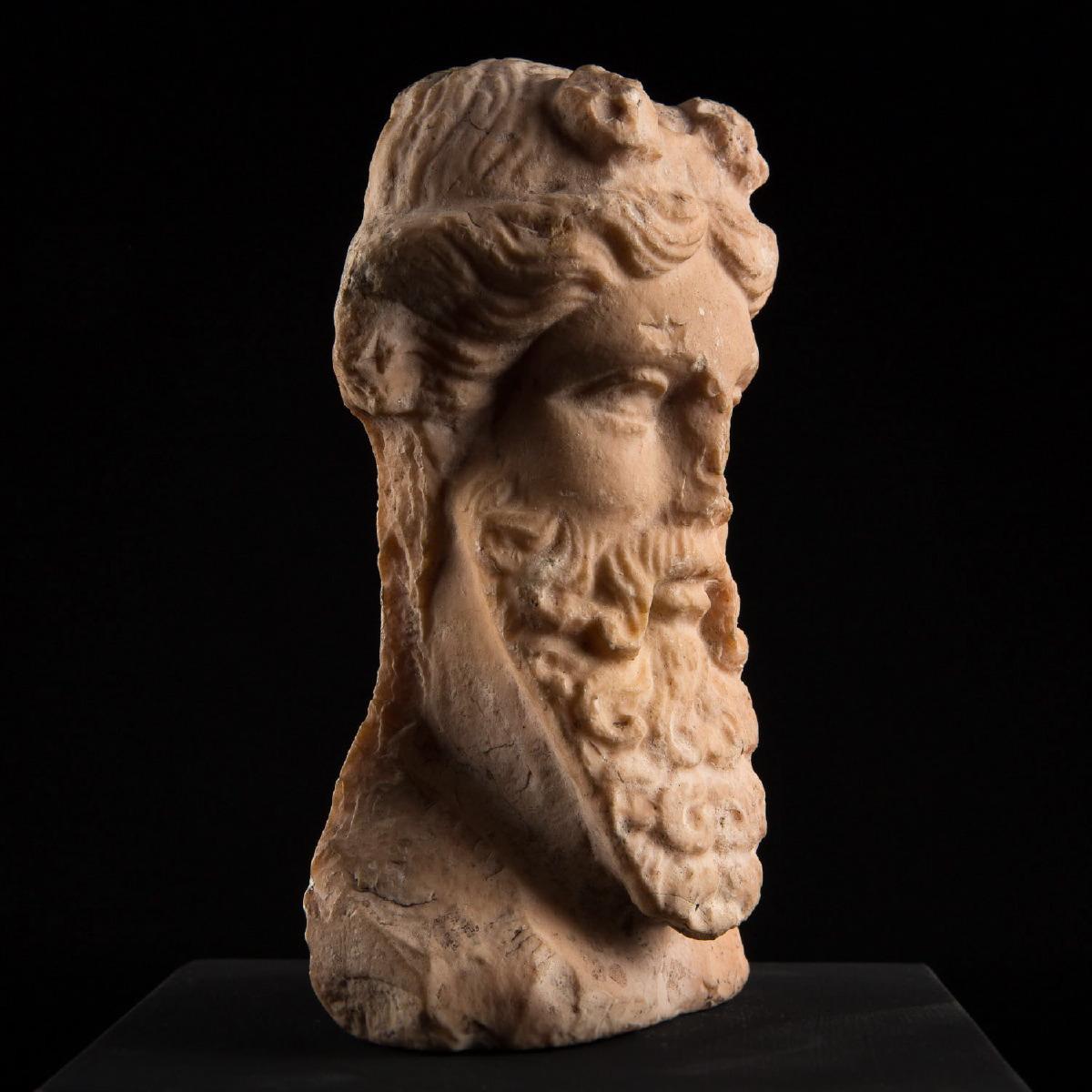 Photo of pink-marble-herm-head-of-dionysus-antiquities-galerie-golconda