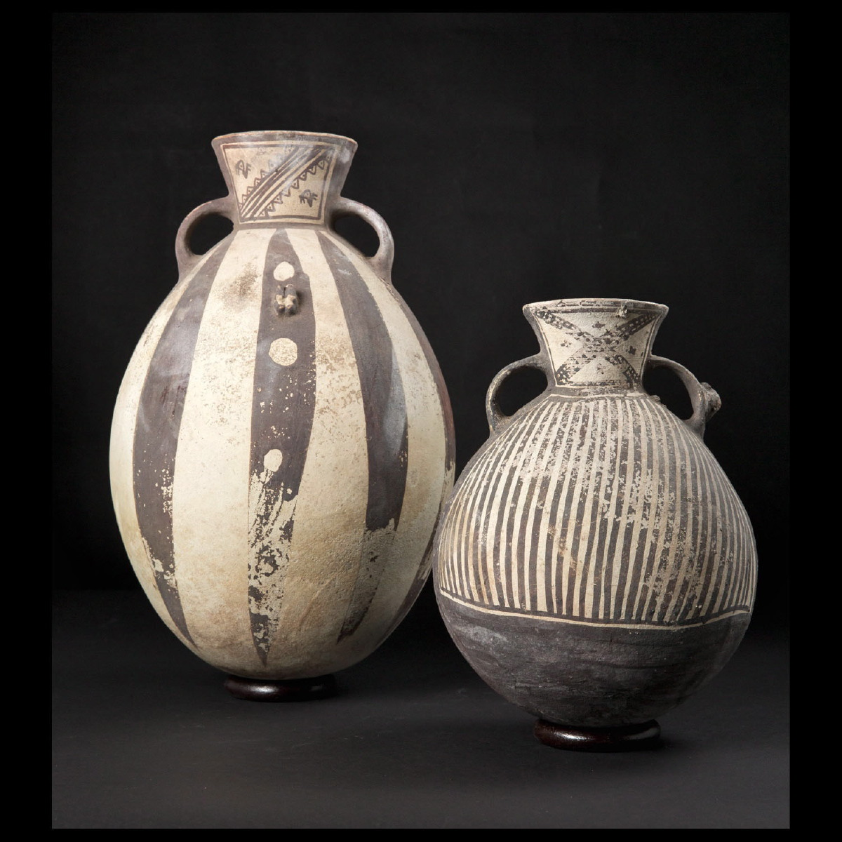 "Photo of PAIR OF CHANCAY ""BLACK AND WHITE"" VASES"