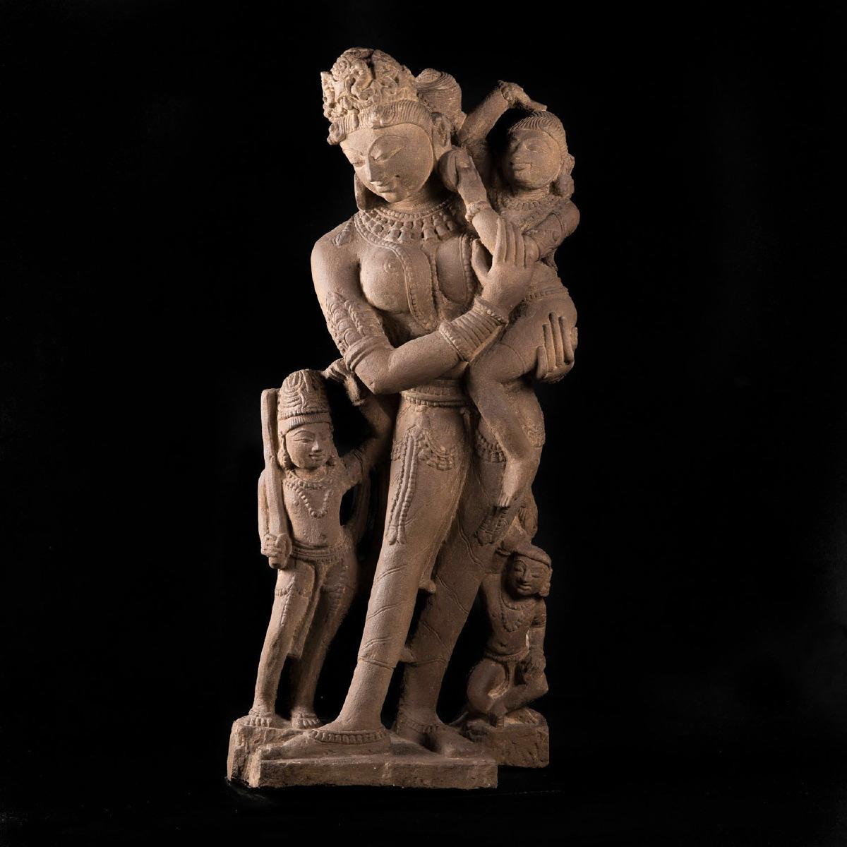 Photo of parvati-and-his-childre-medieval-india-gorgeous-elegance-musuem-quality-galerie-golocnda