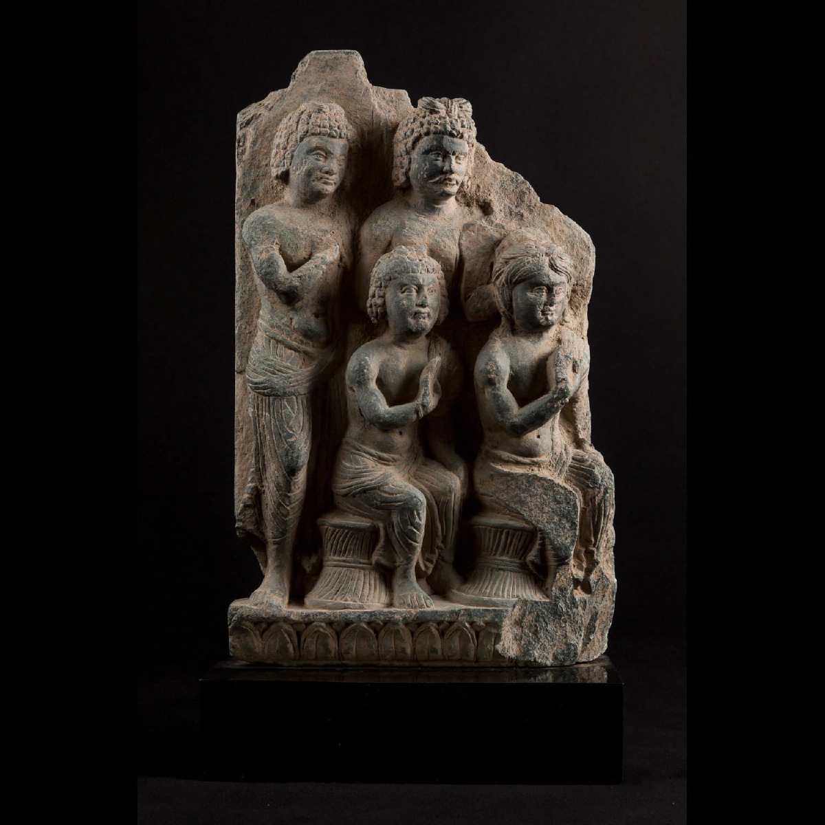 Photo of gandhara-greco-buddhist-maras-orchestra-sculpture-schist-galerie-golconda