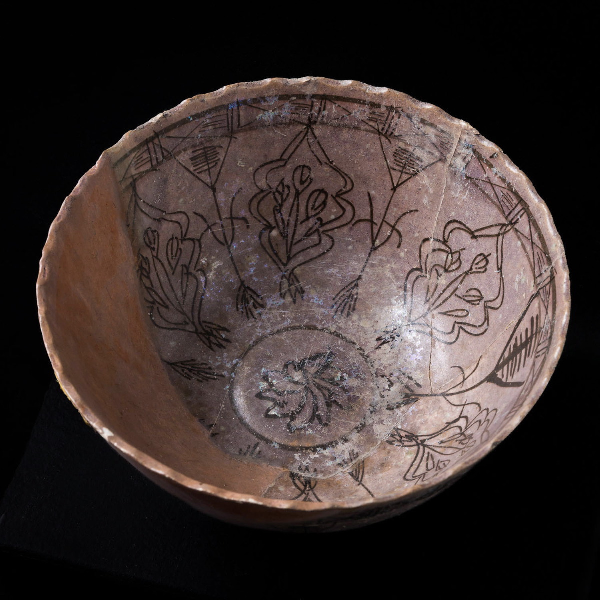 Photo ofISLAMIC PERSIAN VESSEL WITH FLORAL PAINTING