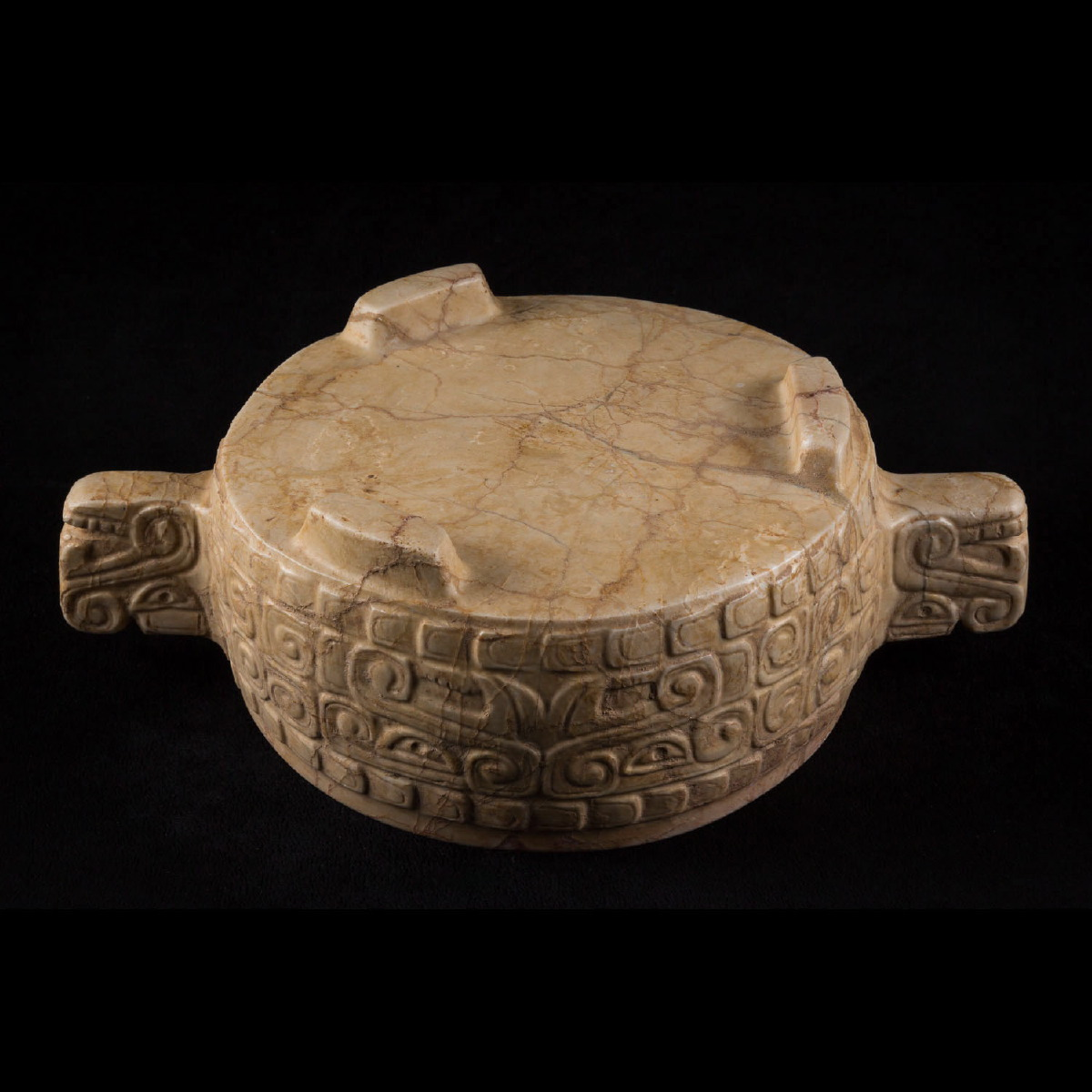 Photo of rare-maya-vessel-marble-ulua-valley-olmeques-kukulan-fetaher-snake-galerie-golocnda-specialist-musuem-quality-atrcheology