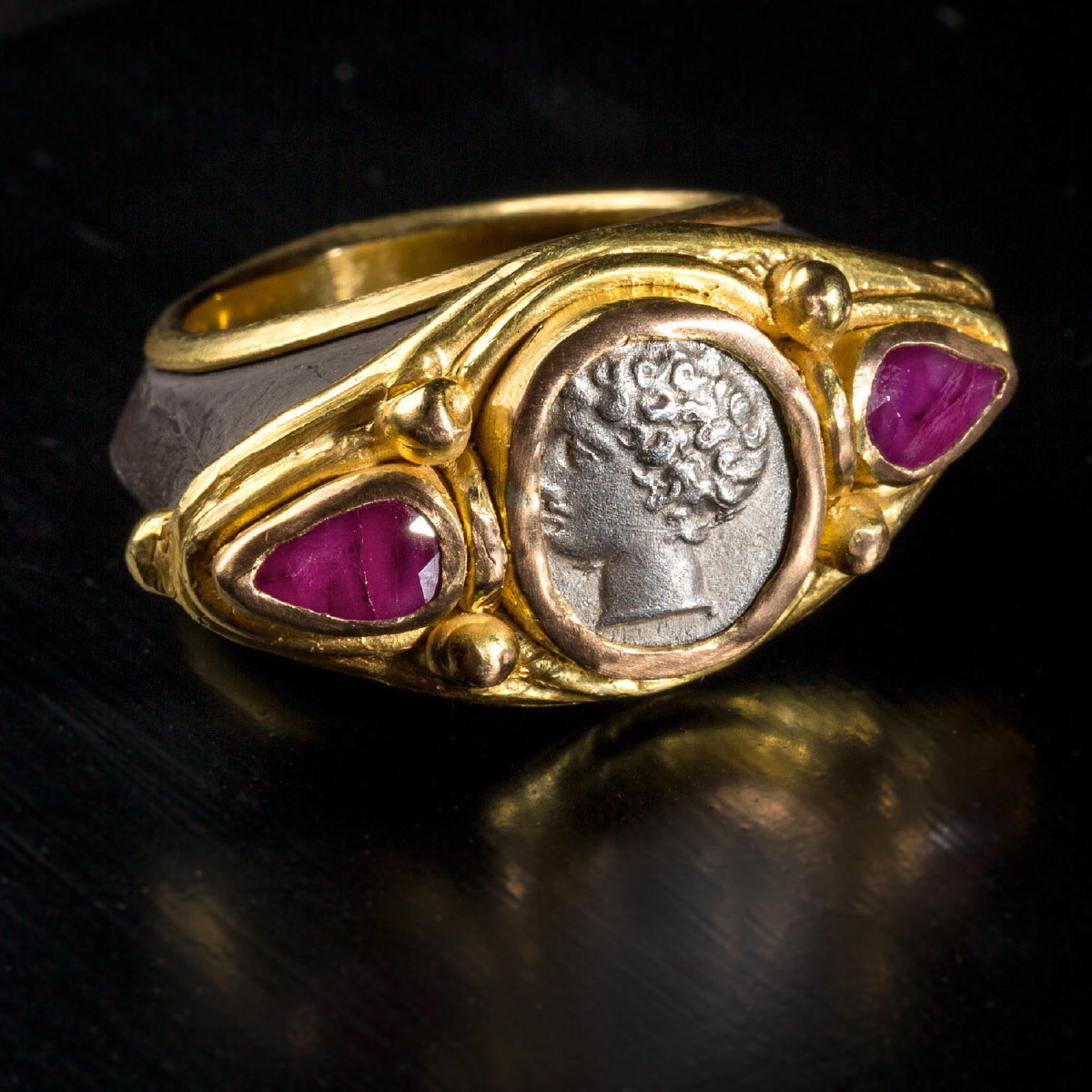 Photo ofRING WITH GREEK COIN AND RUBIES