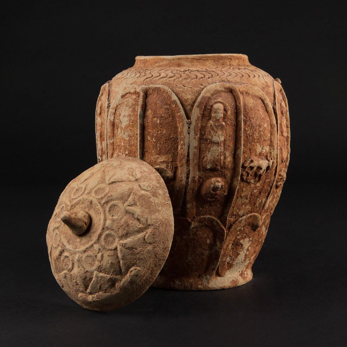 Photo of EARTHENWARE WEI JAR WITH CHARACTERS AND ANIMALS