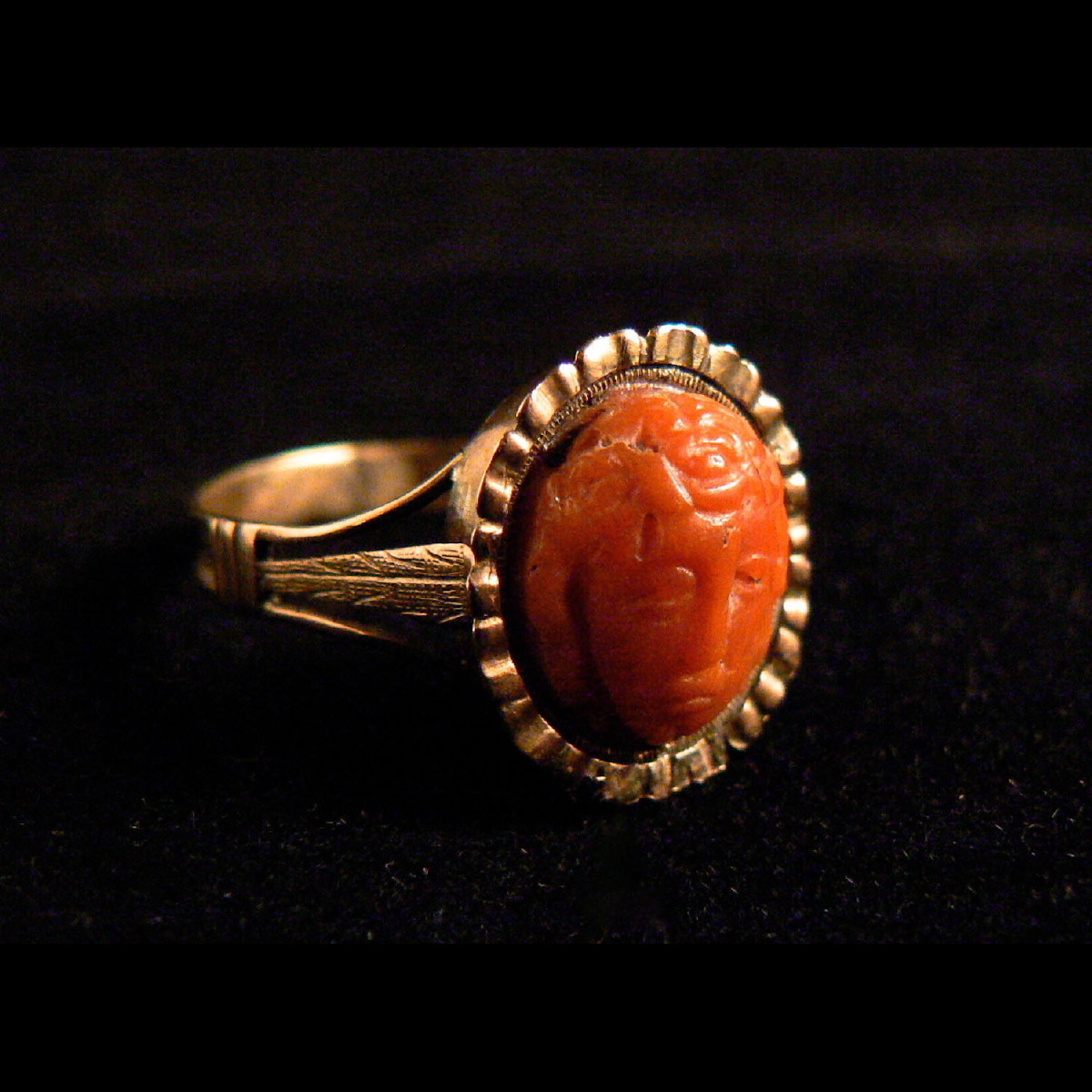 Photo ofPINK GOLD RING WITH ANCIENT SICILIAN CORAL MEDUSA