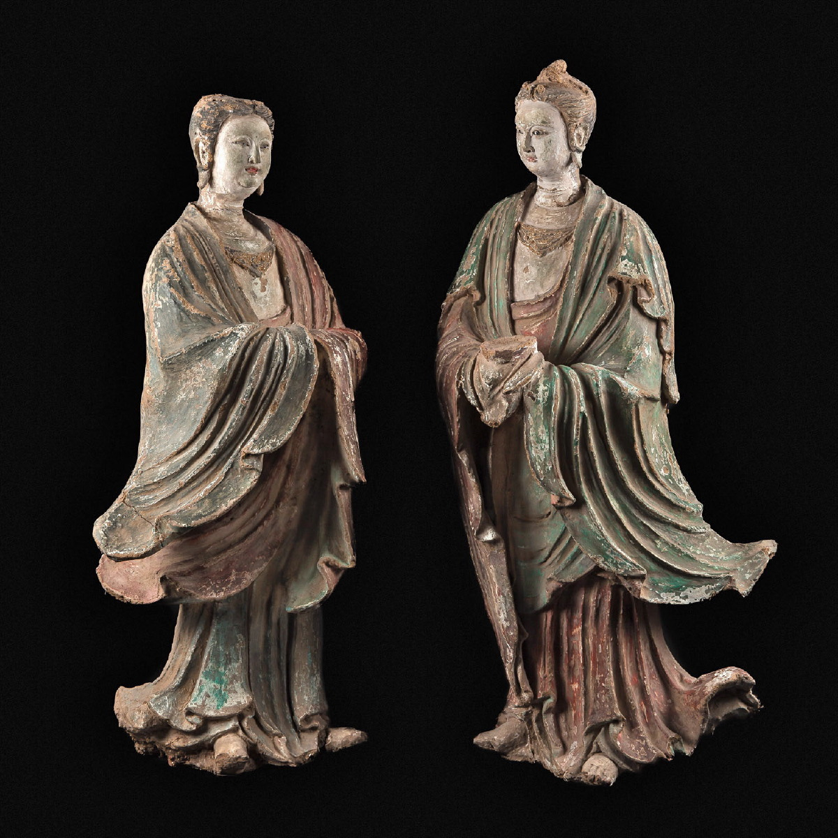 Photo of PAIR OF BODHISATTVA IN WOOD PULP