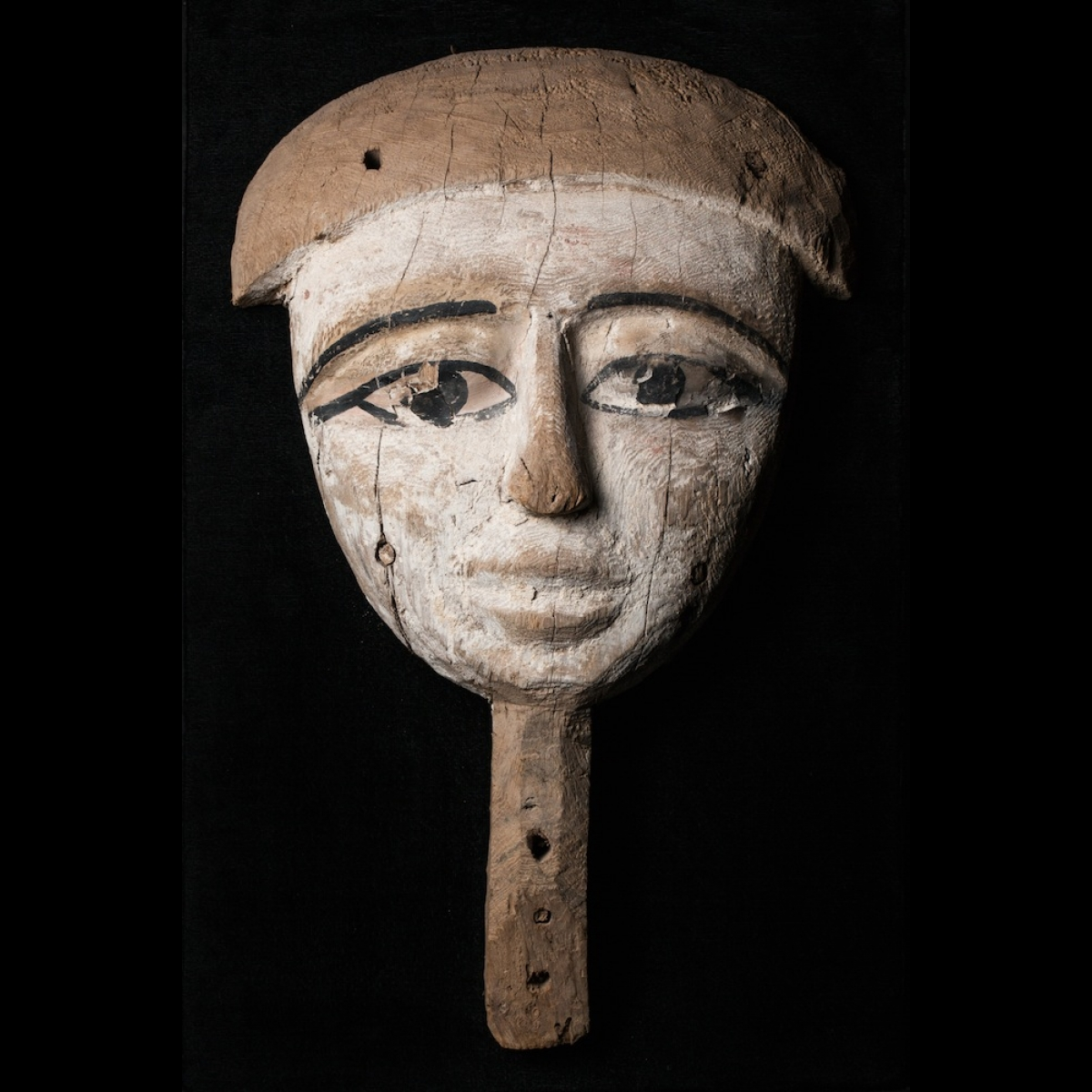 Photo of funerary-mask-egypt-late-period-in-wood-painted-white-and-black
