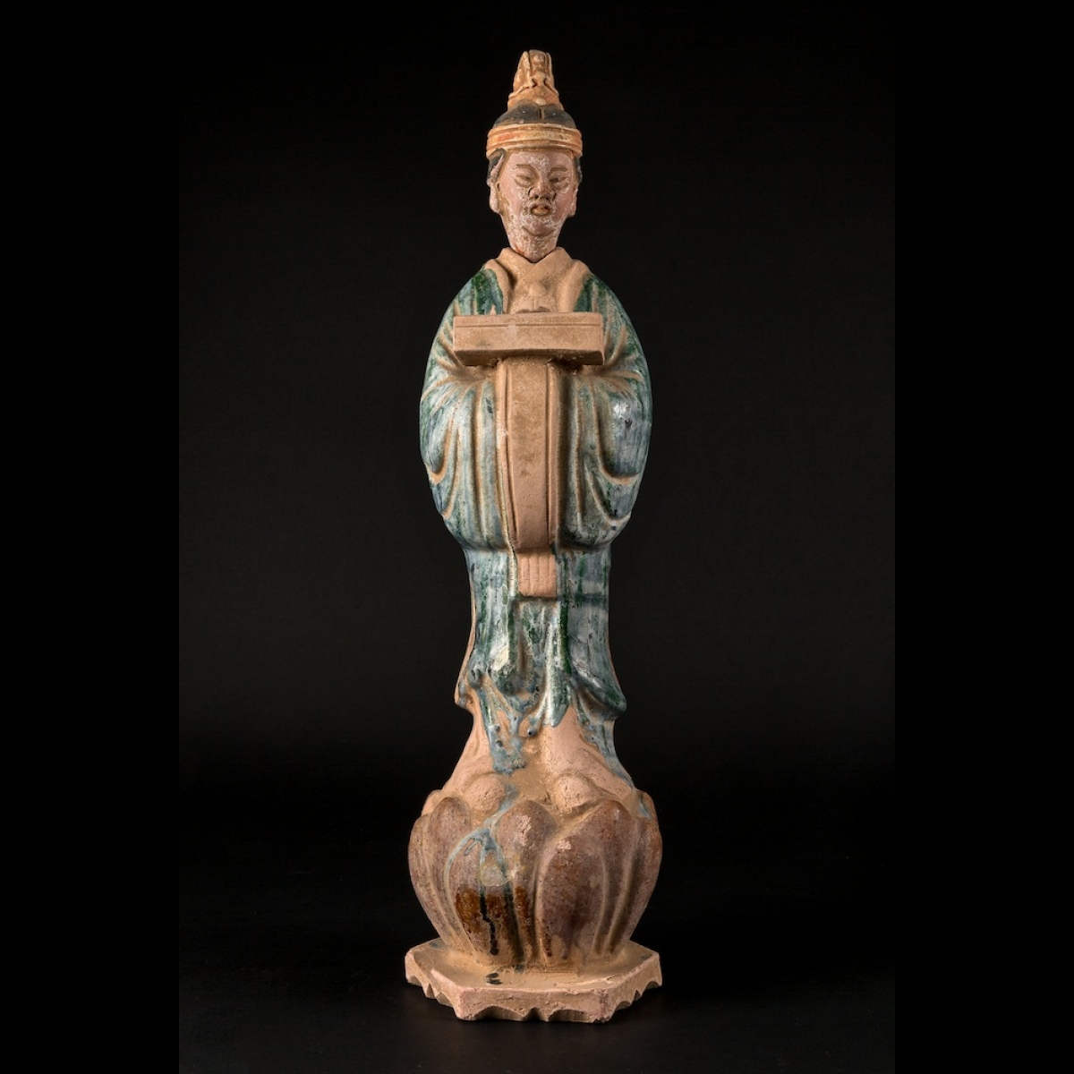 Photo of ming-statuette-terracotta-holeding-a-cabinet-lotus-flower