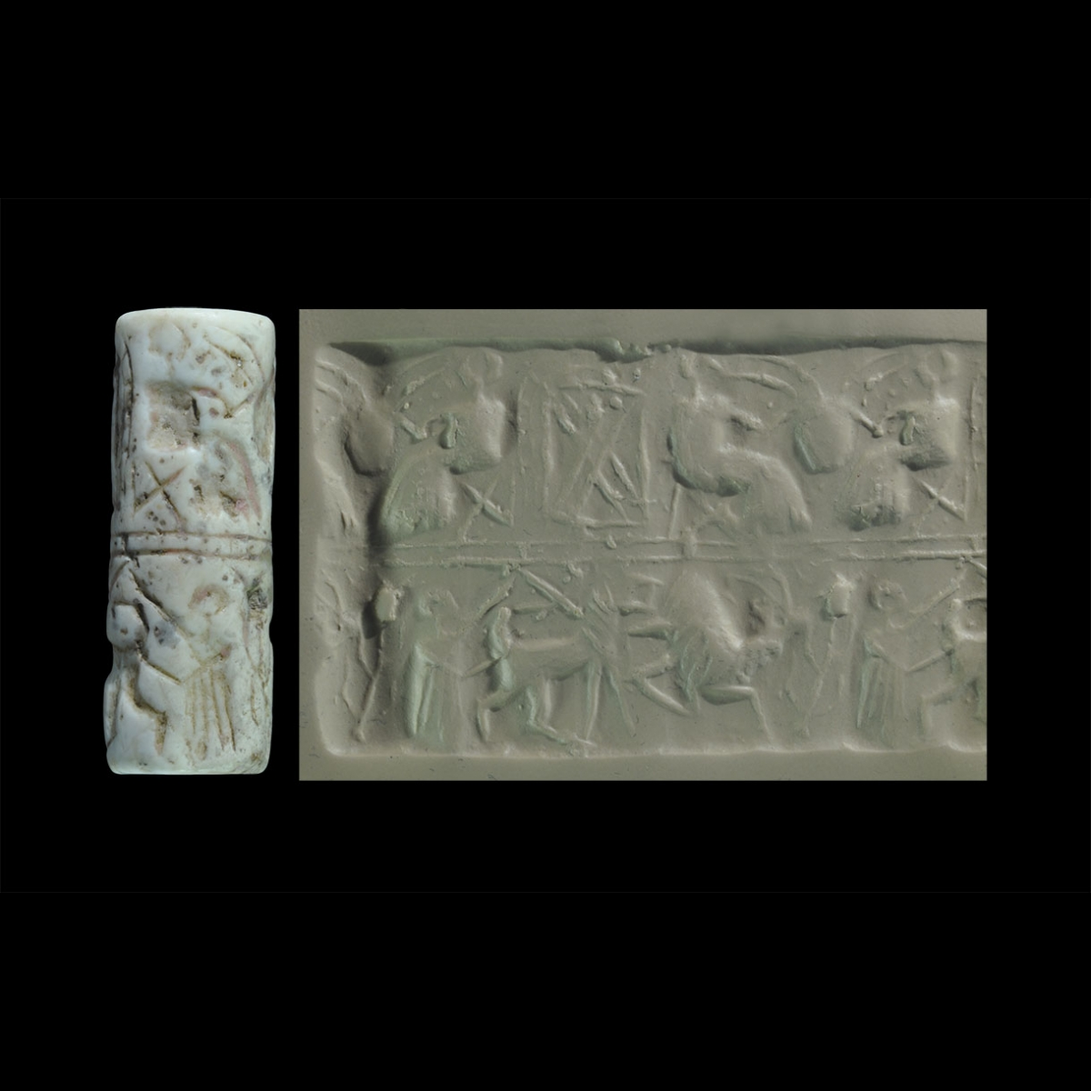 Photo of cylinder-seal-representing-a-banquet-a-hero-and-a-lion
