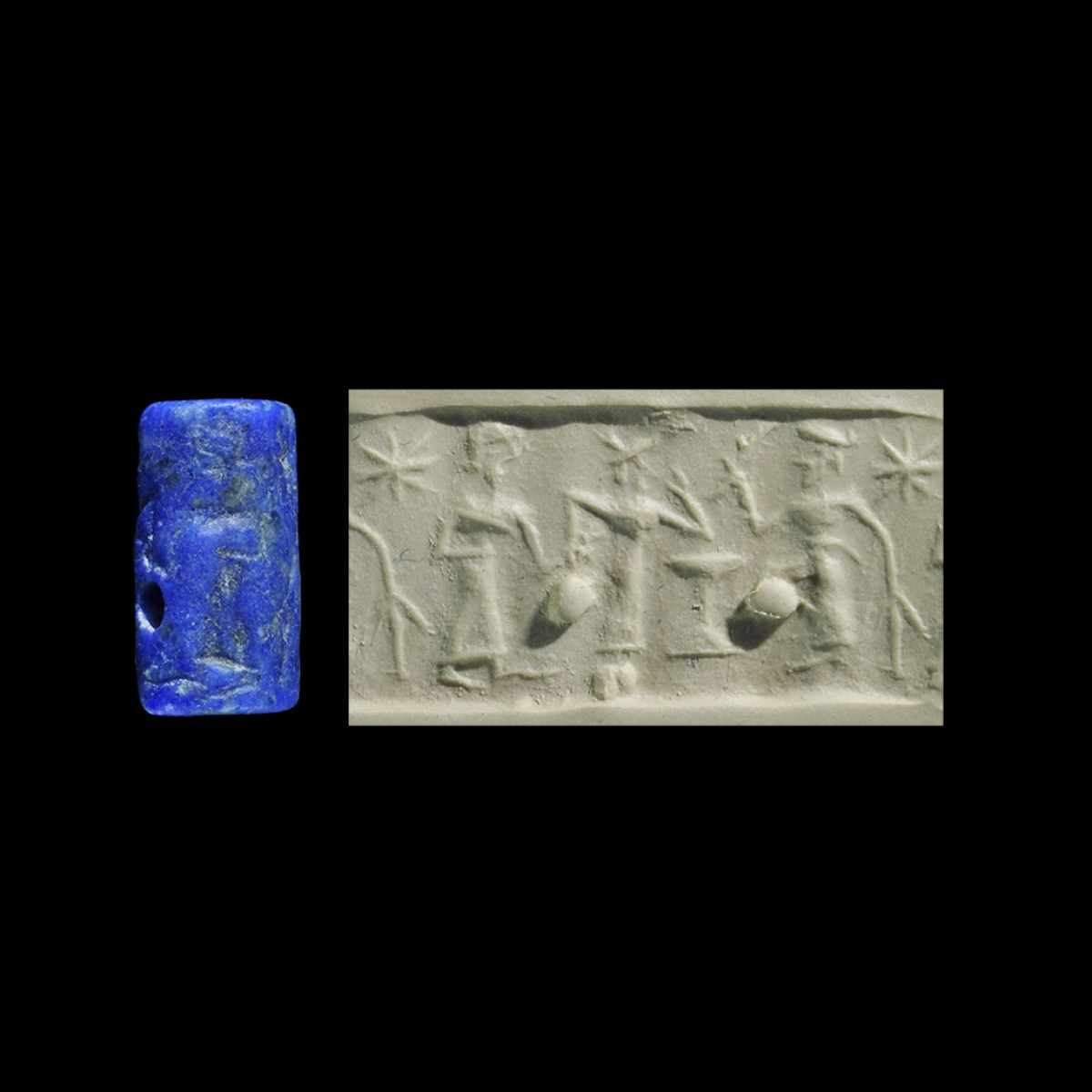 Photo ofCYLINDER SEAL IN LAPIS LAZULI WITH PRESENTATION SCENE