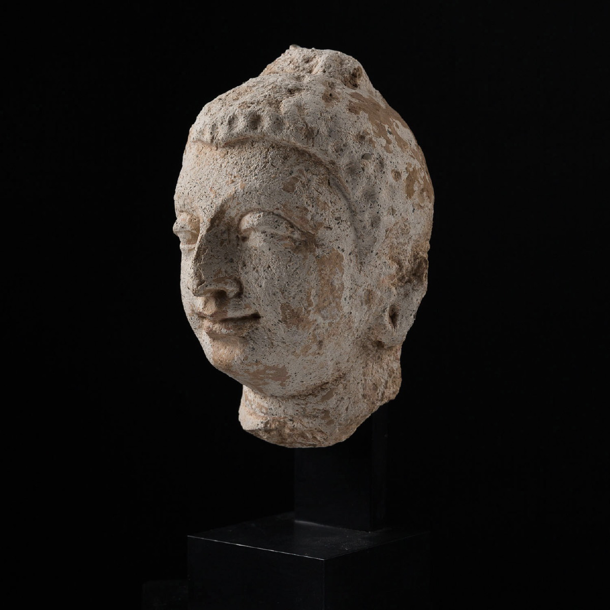 Photo of HEAD OF A GANDHARIAN BODHISATTVA IN STUCCO