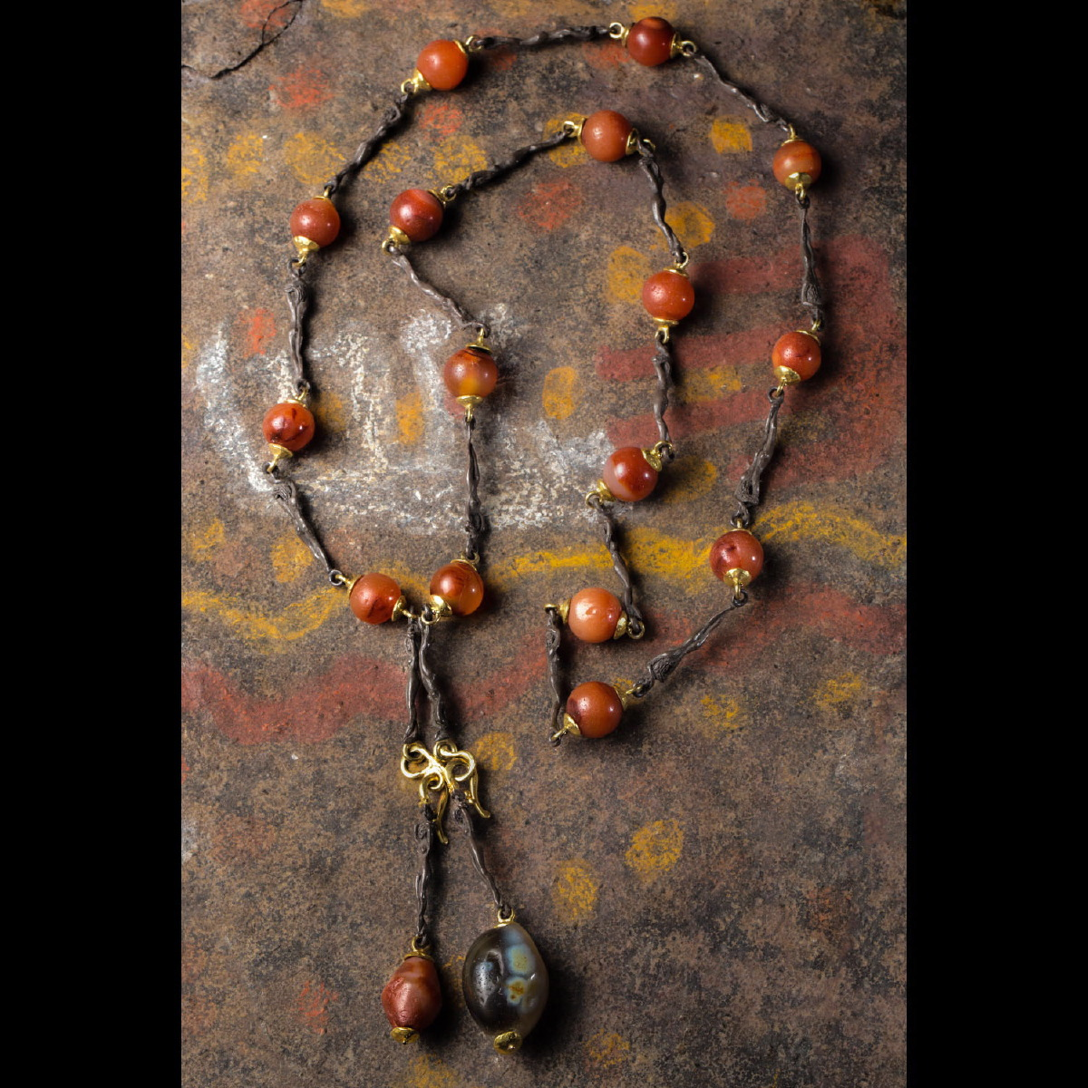 Photo of NECKLACE WITH MESOPOTAMIAN CORNELIAN AND AGATE BEADS