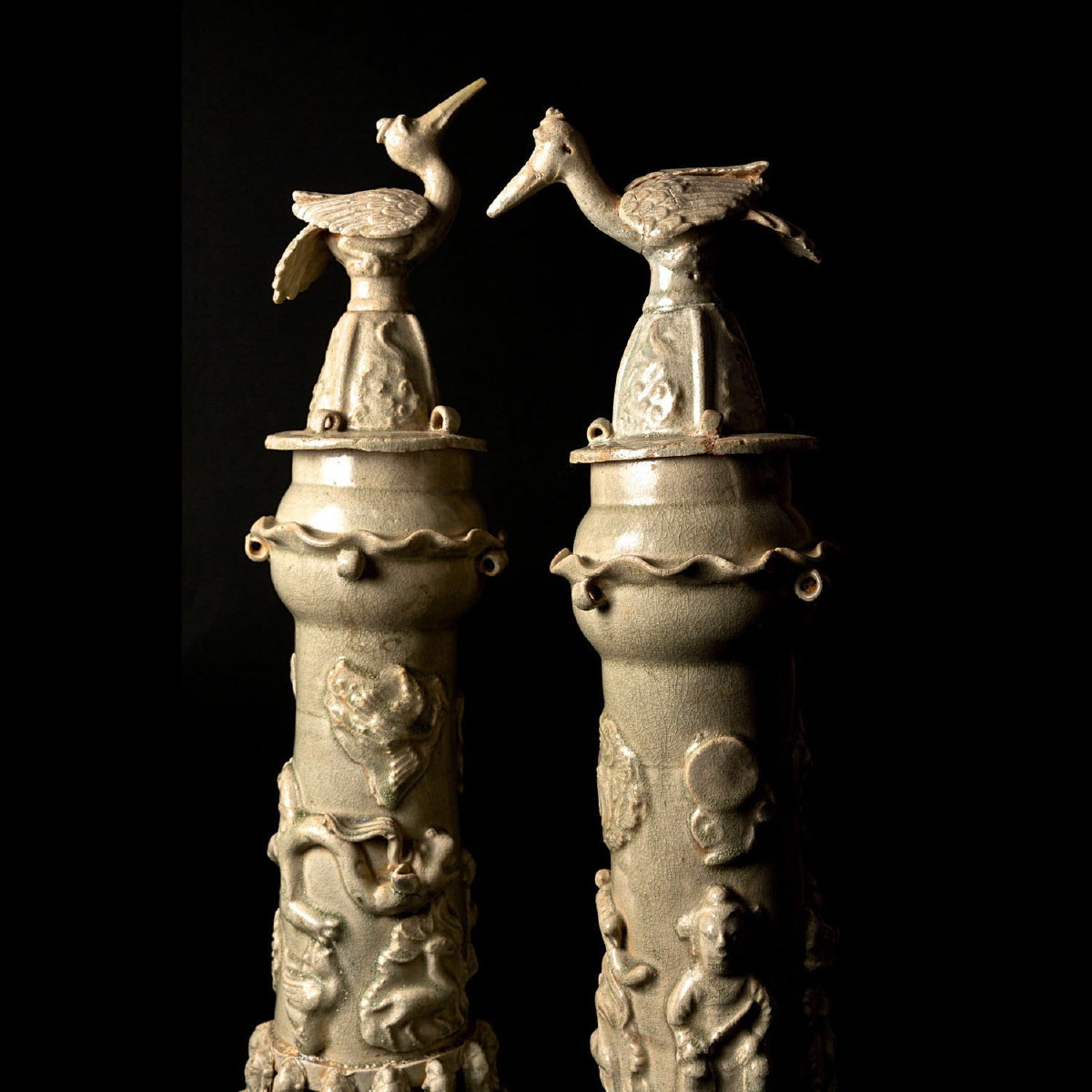 Photo of PAIR OF VERY FINE CELADON HUMPING VASES
