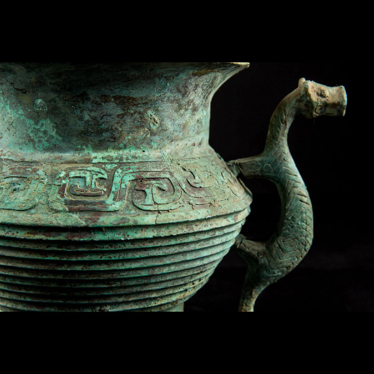 Photo of CHINESE BRONZE VESSEL WITH CHIMERIC ANIMAL