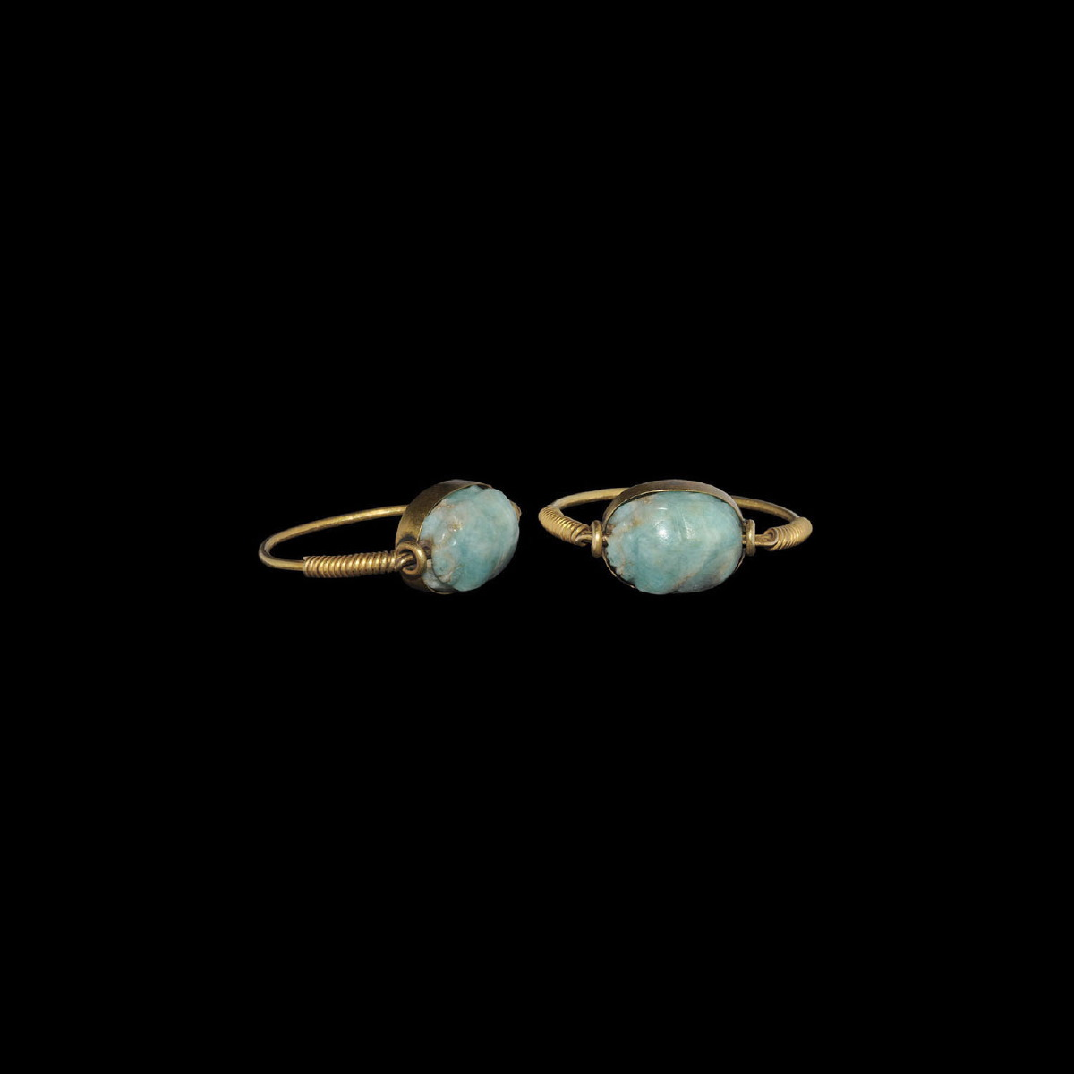 Photo of GOLDEN RING WITH ANCIENT EGYPTIAN SCARAB IN AMAZONITE