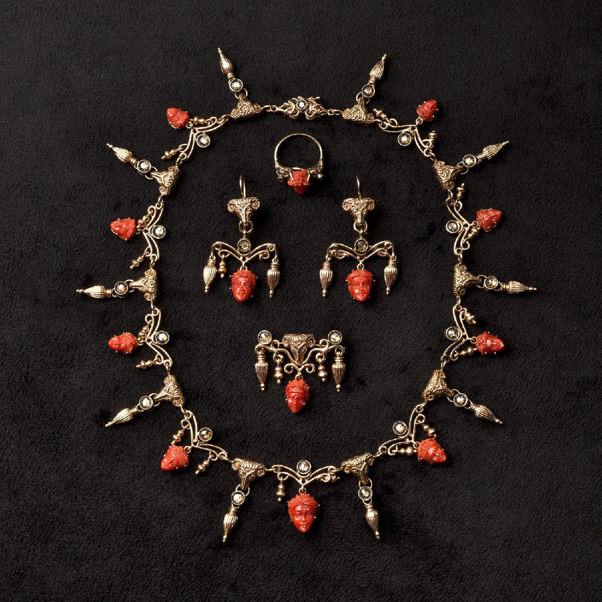 Photo of RARE REVIVAL OLD PARURE WITH DIAMONDS, CORAL AND GOLD
