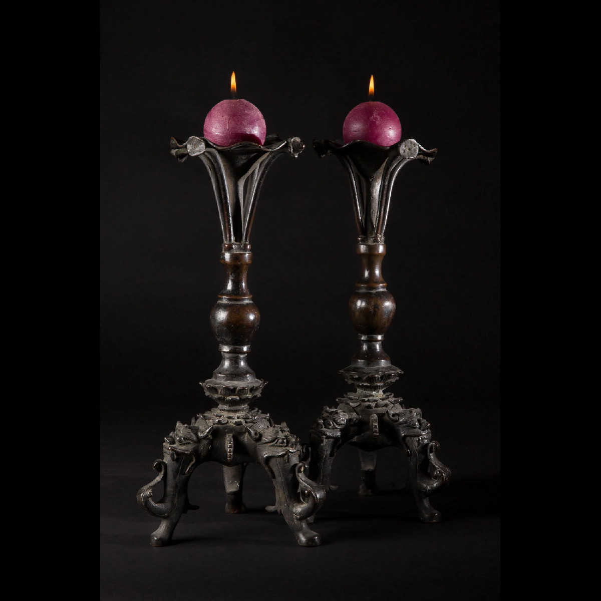 Photo of PAIR OF BRONZE CANDLESTICKS MING DYNASTY