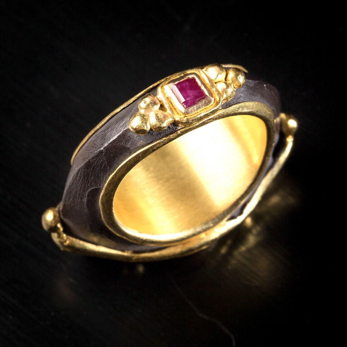 Photo of RING WITH GREEK COIN AND RUBIES