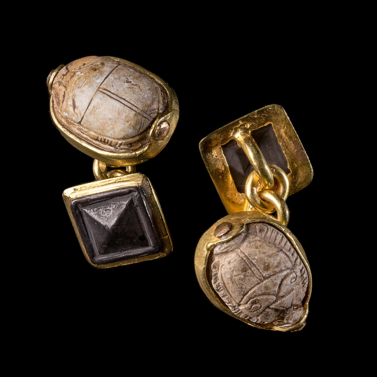 Photo ofGOLD CUFFLINKS WITH ANCIENT EGYPT SCARABS