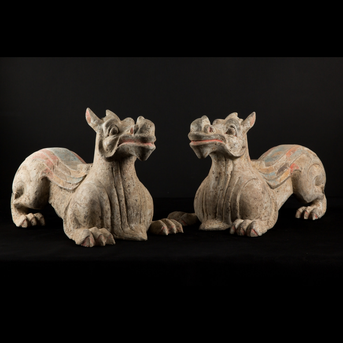 Photo ofPAIR OF HAN POTTERY DRAGON CHIMERA PIXIU