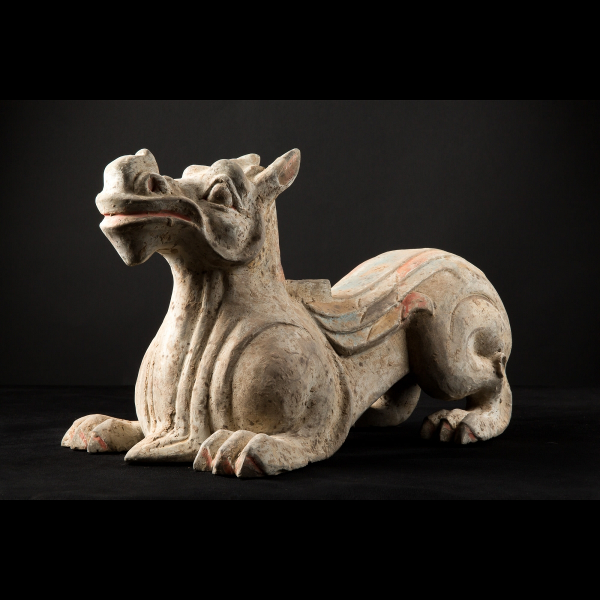 Photo of PAIR OF HAN POTTERY DRAGON CHIMERA PIXIU