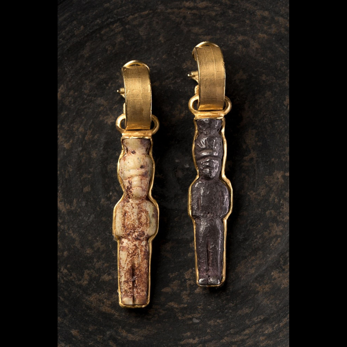 Photo of GOLD EARRINGS WITH ANCIENT LIBANESE COPTIC AMULETS