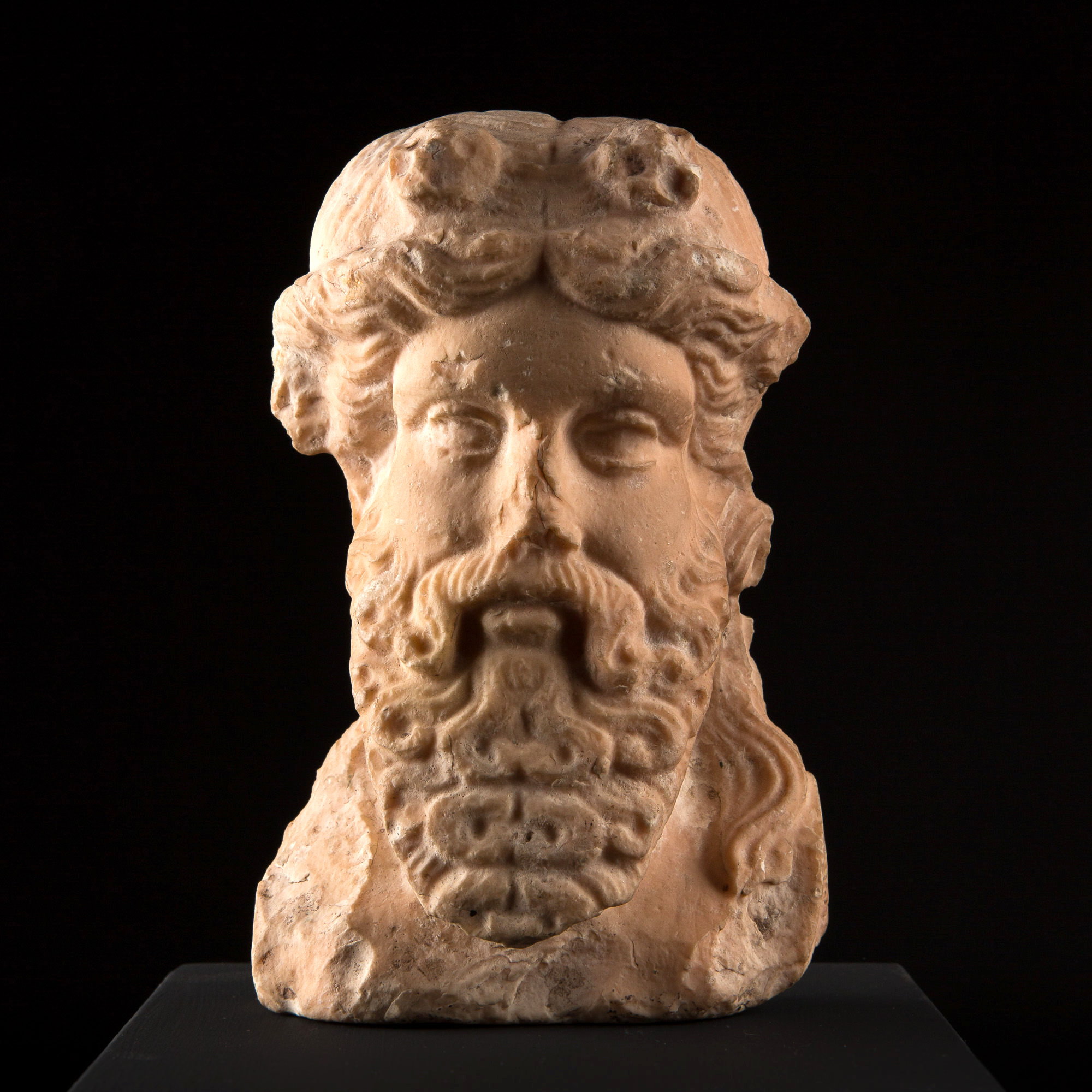 Photo ofPINK MARBLE HERM HEAD OF GREEK DIONYSUS