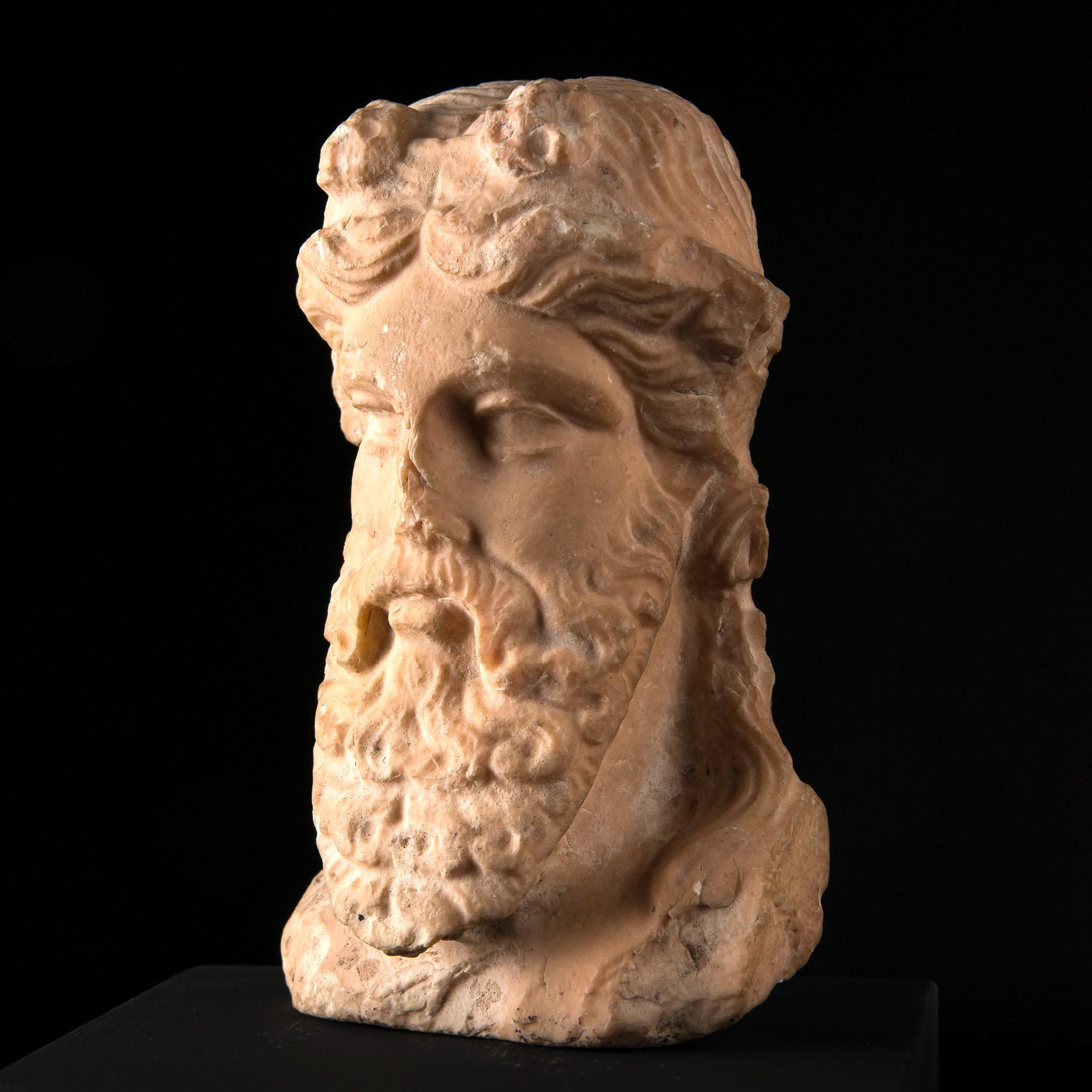 Photo of PINK MARBLE HERM HEAD OF GREEK DIONYSUS